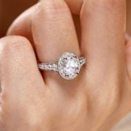 14K White Gold Engagement Ring angle