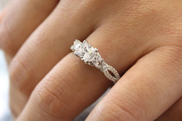 Ambrosia 14k White Gold Princess Cut 3 Stones Engagement Ring angle