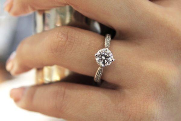 Arabella 14k White Gold Round Straight Engagement Ring