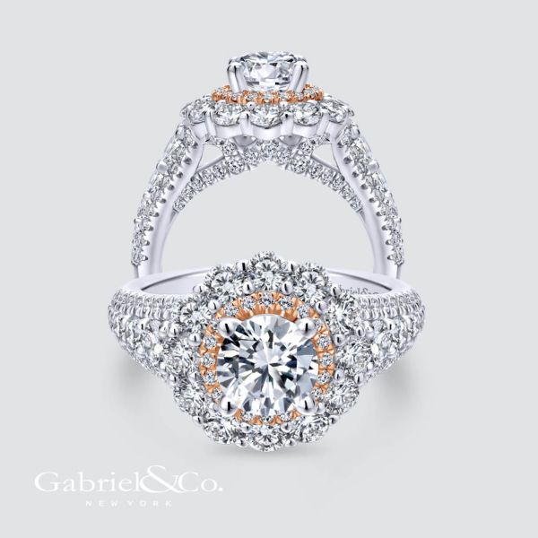 18k White And Rose Gold Round Double Halo Engagement Ring angle