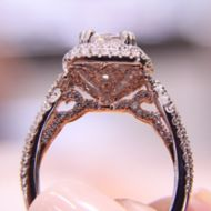 Annabella 18k White And Rose Gold Cushion Cut Double Halo Engagement Ring angle