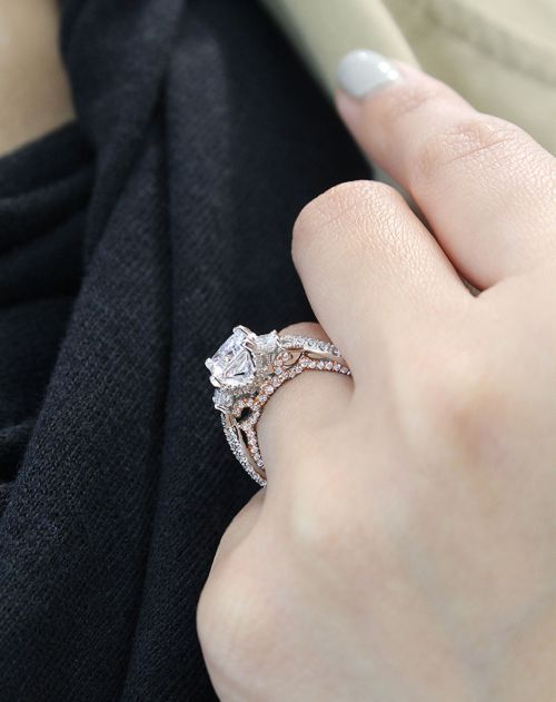 18K White-Rose Gold Princess Cut Three Stone Diamond Engagement Ring