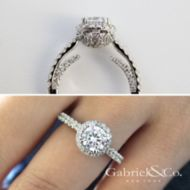 Milan 14k White Gold Round Halo Engagement Ring angle