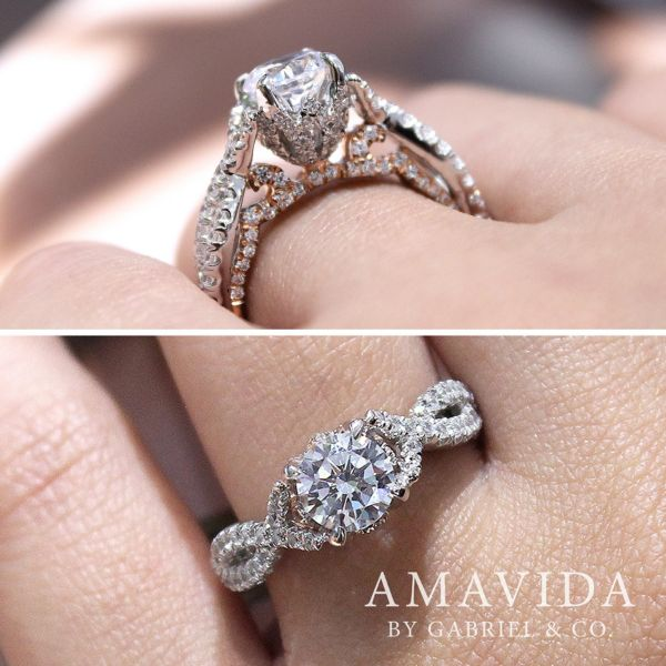 Graciela 18k White And Rose Gold Round Twisted Engagement Ring