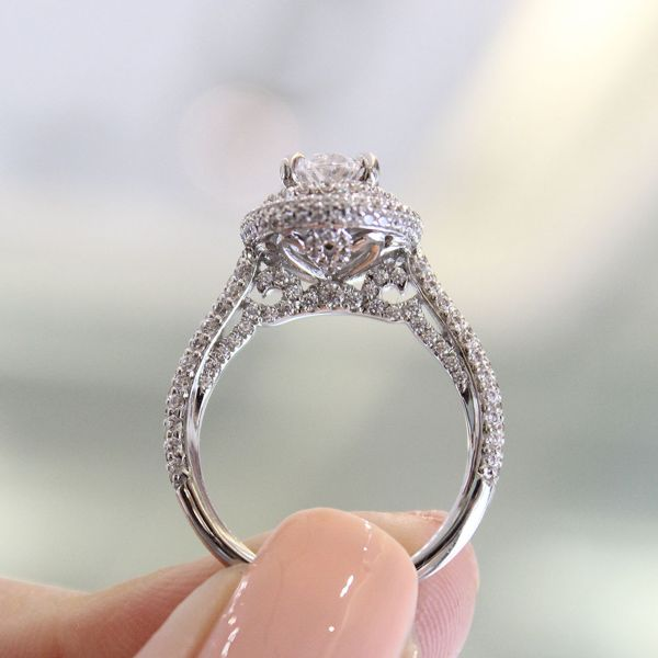 Camellia 18k White Gold Oval Double Halo Engagement Ring angle
