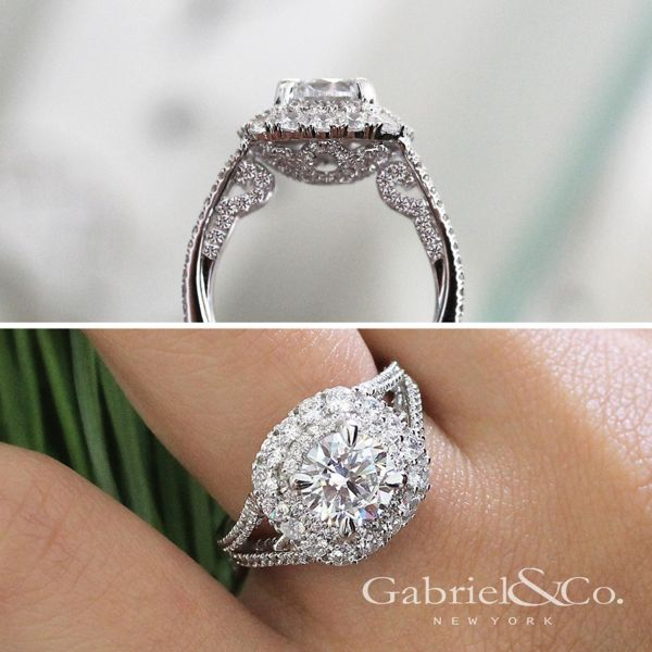 18k White Gold Round Double Halo Engagement Ring angle