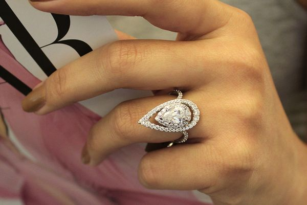 diamond rings engagement shaped earth ring pear white gold wedding brilliant waverly