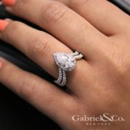 Madeleine 18k White Gold Pear Shape Halo Engagement Ring angle
