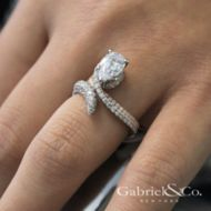 Mystic 18k White And Rose Gold Pear Shape Halo Engagement Ring angle