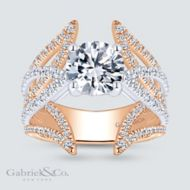 18k White And Rose Gold Round Split Shank Engagement Ring angle
