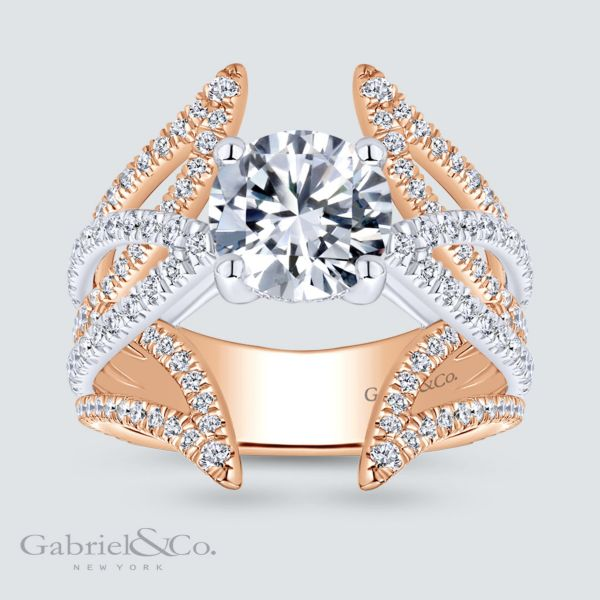 Carissa 18k White And Rose Gold Round Split Shank Engagement Ring angle