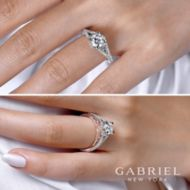 Rochelle 14k White And Rose Gold Round Split Shank Engagement Ring angle