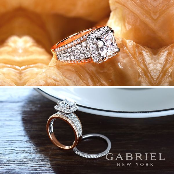 Feline 18k White And Rose Gold Princess Cut Halo Engagement Ring