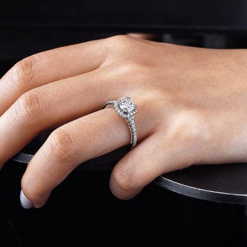 18K White-Rose Gold Cushion Halo Diamond Engagement Ring