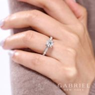 Mabel 14k White Gold Round Straight Engagement Ring angle
