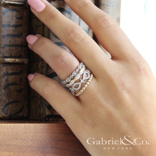 14k White Gold Stackable Ladies' Ring angle