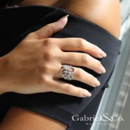 14k White Gold Flirtation Fashion Ladies' Ring angle
