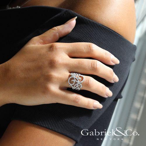 14K White Gold Pavé Diamond Scrollwork Ring