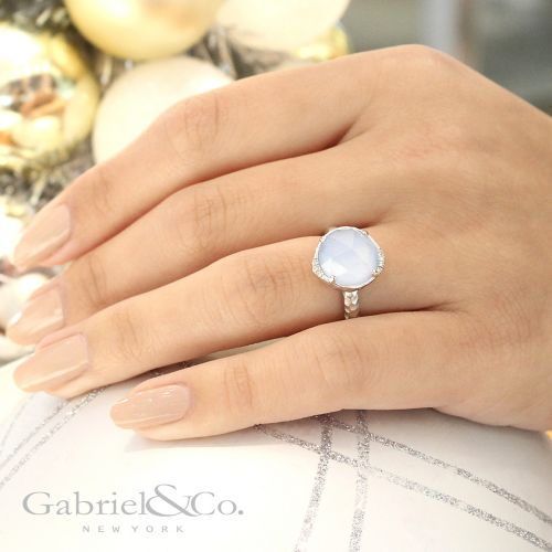925 Sterling Silver Round Blue Jade/Rock Crystal Ring