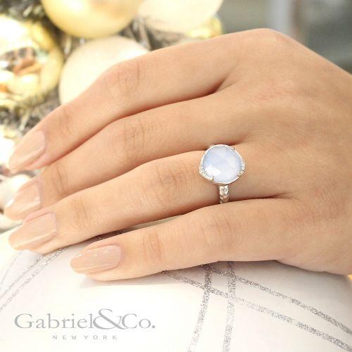 925 Sterling Silver Rock Crystal & Blue Jade Fashion Ring