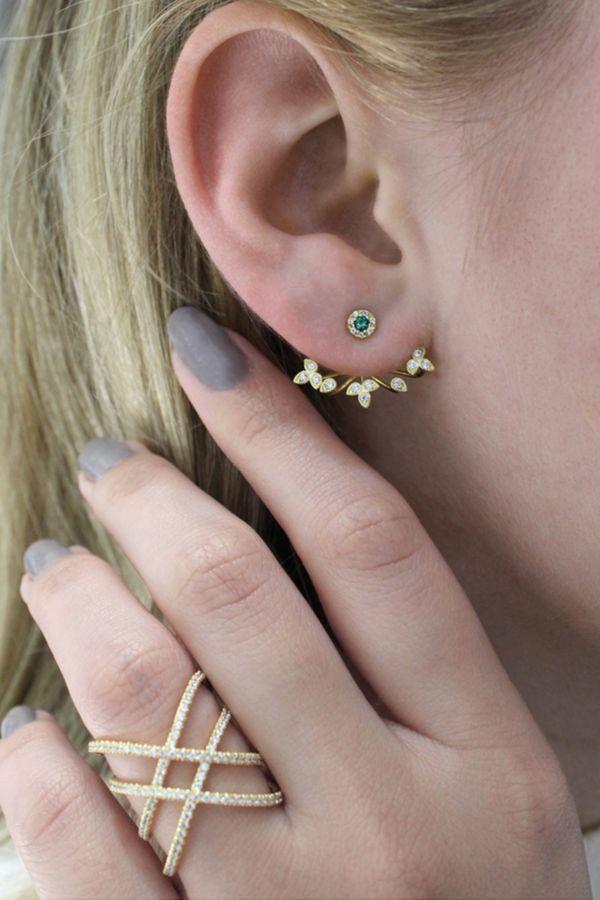 14k Yellow Gold Floral Peek A Boo Earrings angle