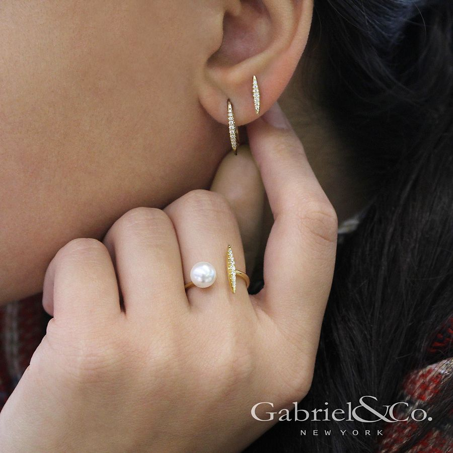 14K Yellow Gold Cultured Pearl and Diamond Bar Open Ring