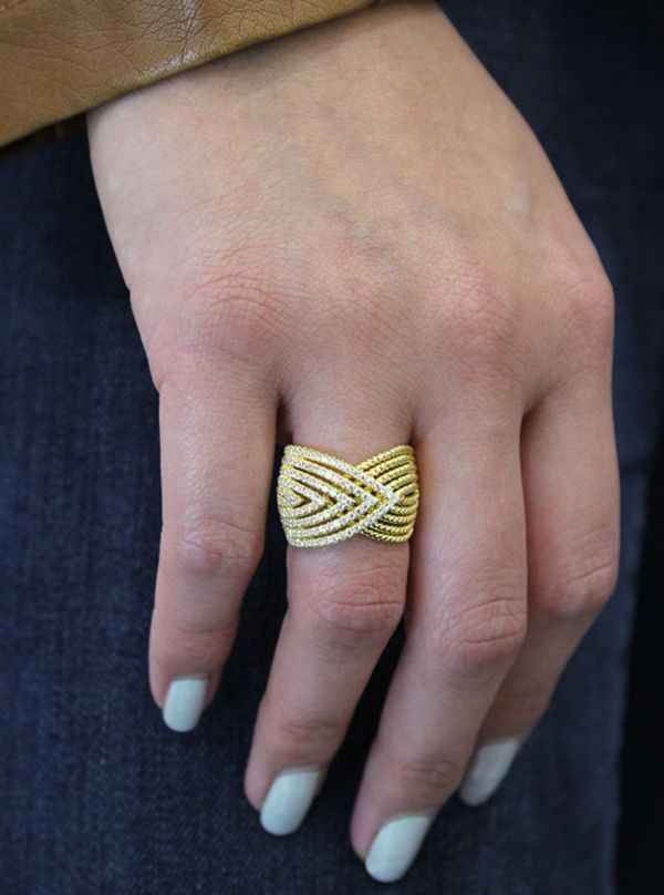 14k Yellow Gold Hampton Wide Band Ladies' Ring angle