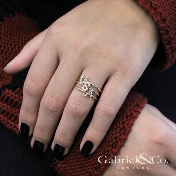 14k Yellow Gold Stackable Initial Ladies' Ring angle