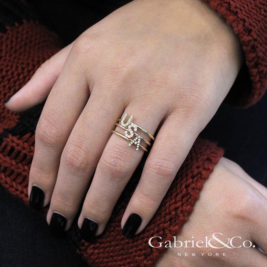 14K Yellow Gold Pavé Diamond Uppercase A Initial Ring