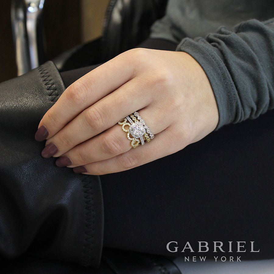 14K White Gold Marquise and Round Station Diamond Ring
