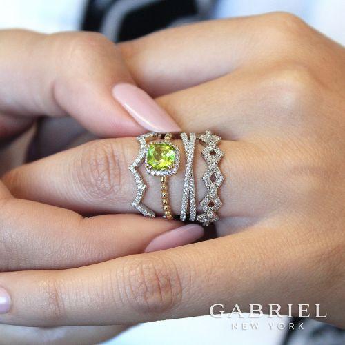 14K White Gold Criss Cross Diamond Stackable Ring