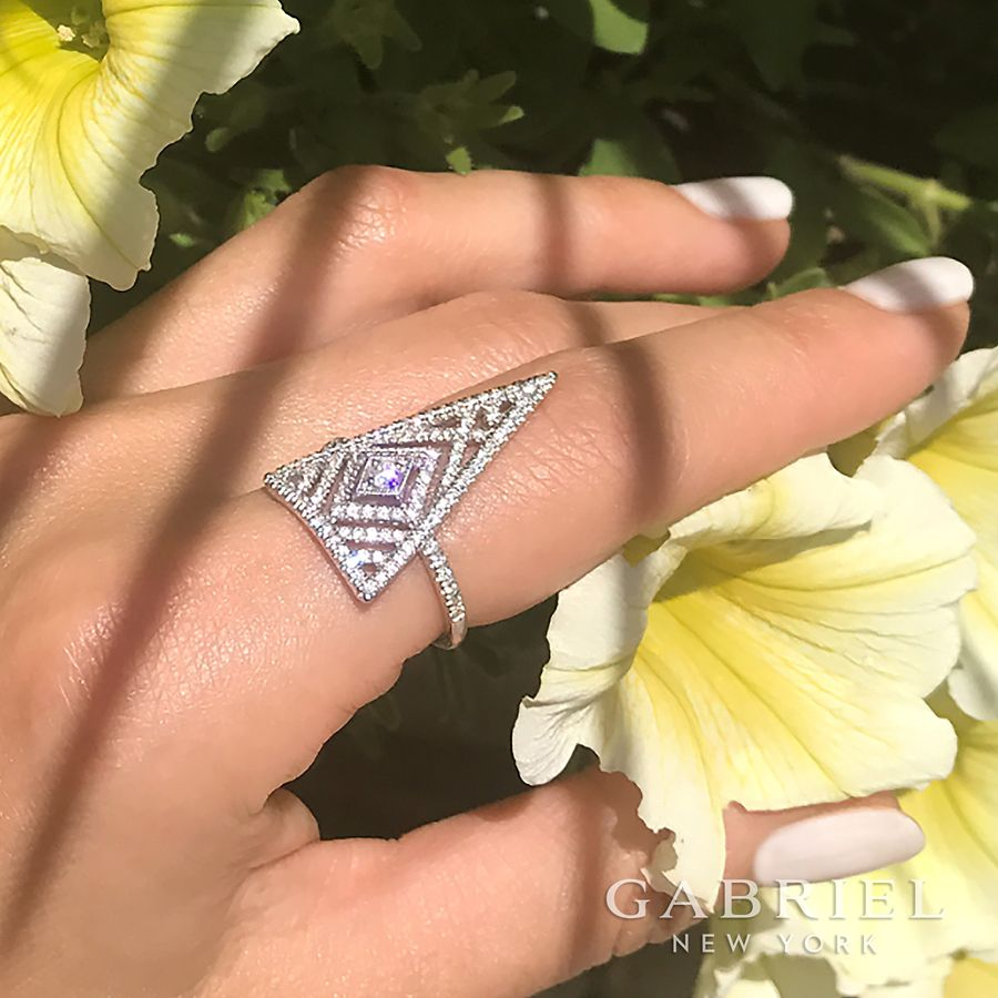 14K White Gold Triangle Diamond Statement Ring