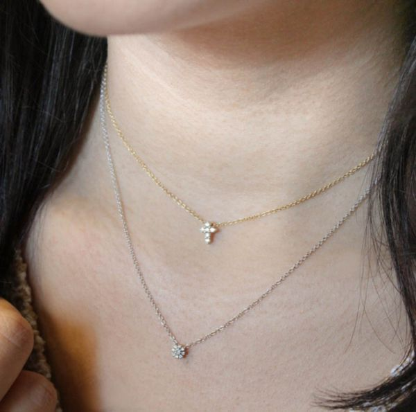 14k Yellow Gold Faith Cross Necklace angle
