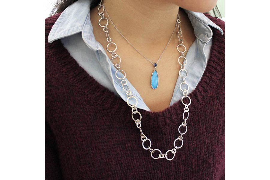 Long 925 Sterling Silver Rock Crystal/Turquoise Teardrop Pendant with Sapphire