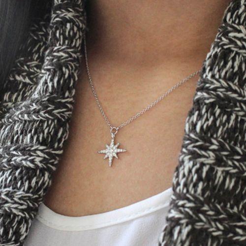 14K White Gold Diamond Starburst Pendant Necklace