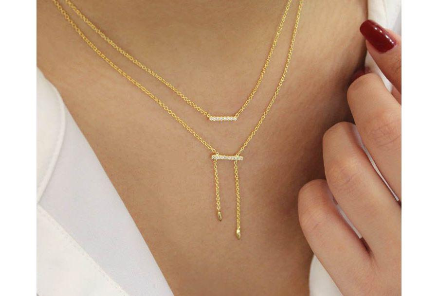 14K Yellow Gold Petite Pavé Diamond Bar Necklace
