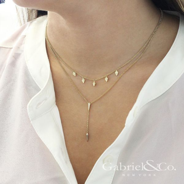14k Yellow Gold Kaslique Y Knots Necklace angle