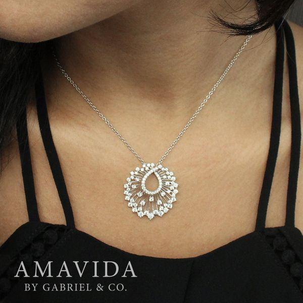 18k White Gold Waterfall Swirl Diamond Necklace