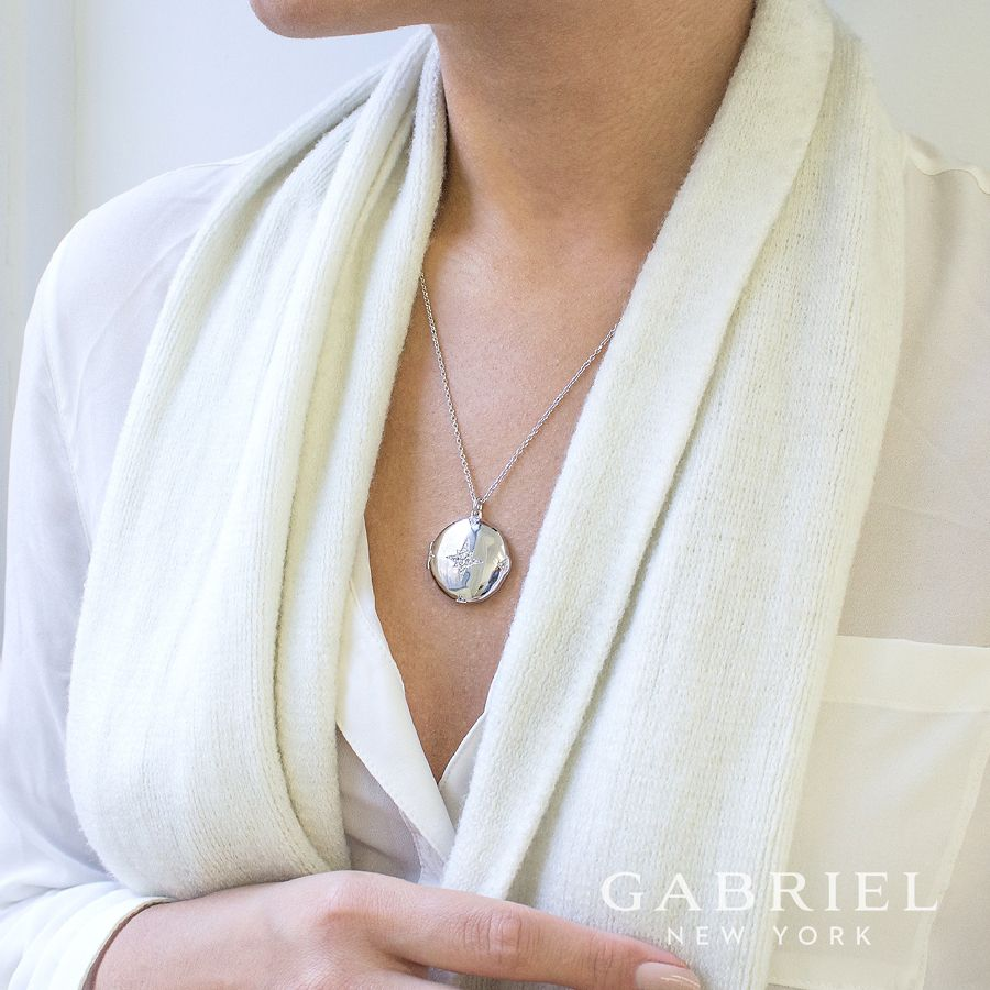 925 Sterling Silver Round White Sapphire Starburst Locket Necklace