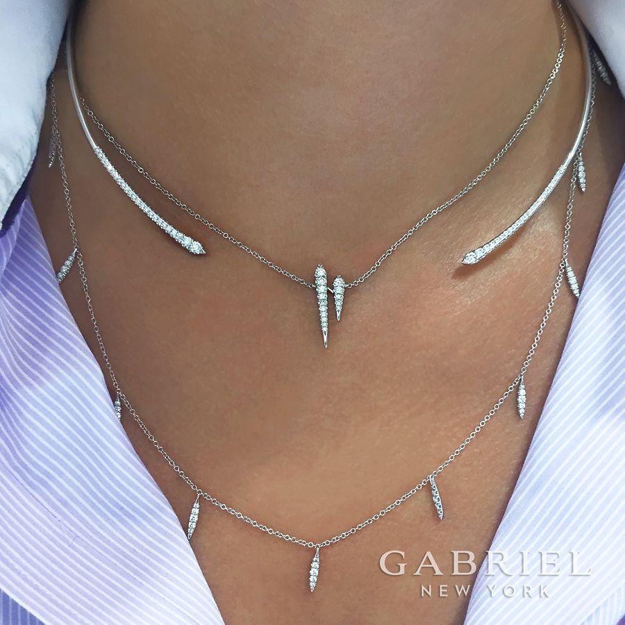 14K White Gold Diamond Choker Necklace with Diamond Spike Drops