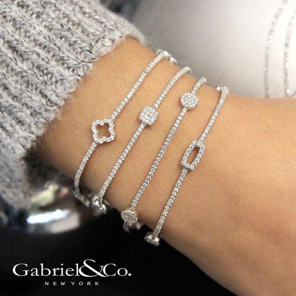 14k White Gold Lusso Tennis Bracelet angle