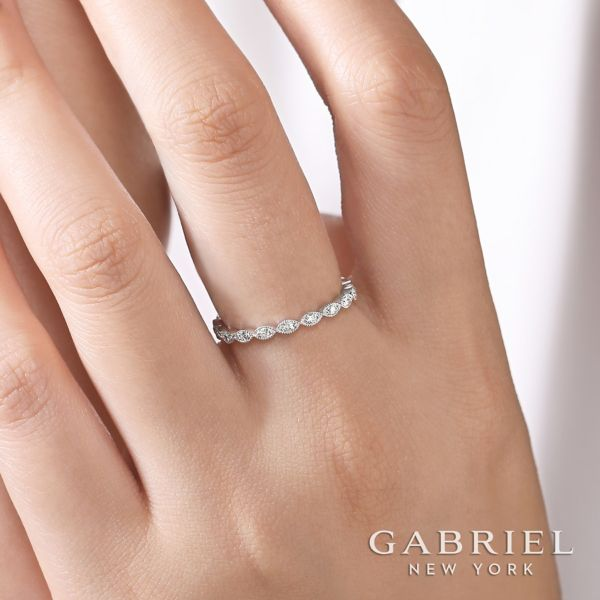 14k White Gold Stackable Ladies Ring