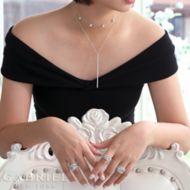 14k White Gold Hexagonal Diamond Choker Necklace angle