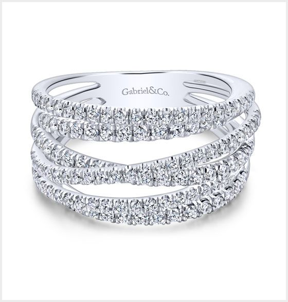 White Gold Layered Wide Band Diamond Fashion Ring