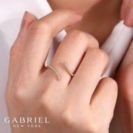 14K Yellow Gold Open Wrap Diamond Ring angle