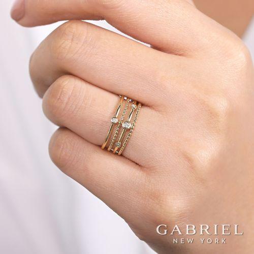 14K Yellow Gold Bezel Set Diamond Station Layered Ring angle