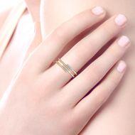 14k Yellow Gold Beaded Fashion Diamond Ladies' Ring angle