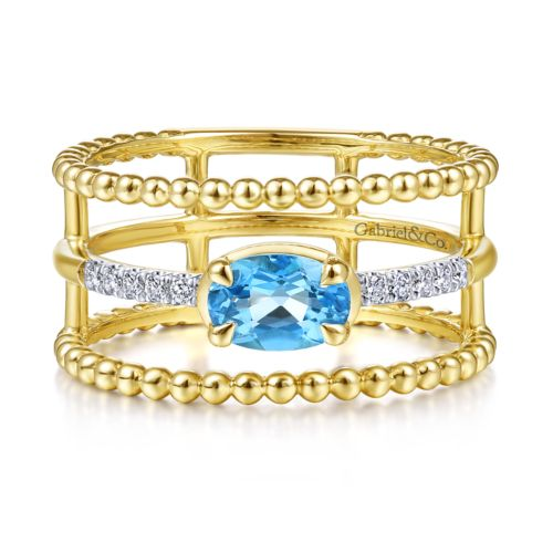 14k Yellow Gold Oval Swiss Blue Topaz & Diamond Tri Band Fashion Ring
