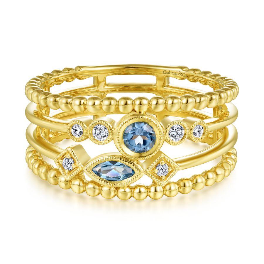 14K Yellow Gold Swiss Blue Topaz and Diamond Multi Row Ring