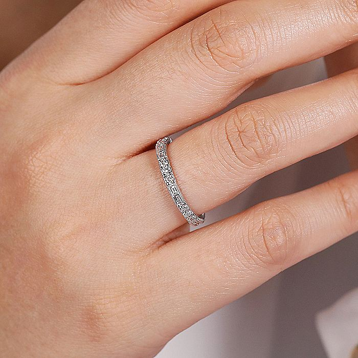 14K White Gold Baguette and Round Diamond Stackable Ring
